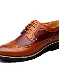 cheap -Men's Brogue Leather Spring / Fall British Oxfords Black / Brown / Yellow / Lace-up / Leather Shoes / Comfort Shoes / EU42