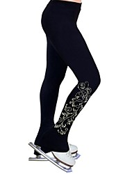 cheap -Over The Boot Figure Skating Tights Women's Ice Skating Pants / Trousers Sweatshirt Black Spandex Stretchy Performance Practise Skating Wear Solid Colored Long Pant Figure Skating / Kid's