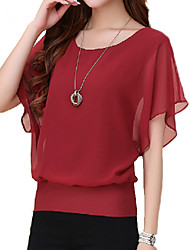 cheap -Women's Plus Size T-shirt - Solid Colored Ruffle Purple / Summer