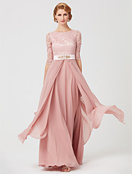 cheap -A-Line Mother of the Bride Dress Jewel Neck Ankle Length Chiffon Metallic Lace 3/4 Length Sleeve with Sash / Ribbon Beading 2020 / Illusion Sleeve
