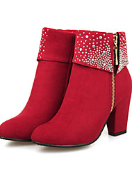 cheap -Women's Boots Chunky Heel Pointed Toe Rhinestone Suede Booties / Ankle Boots Comfort / Novelty / Bootie Fall / Winter Black / Red / Blue / Wedding / Party & Evening / EU39
