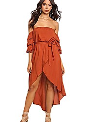 cheap -Women's Off Shoulder Party Puff Sleeve Asymmetrical Trumpet / Mermaid Dress - Solid Colored Off Shoulder Red Yellow M L XL