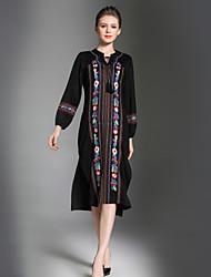 cheap -Women's Boho / Beach Black Dress Fall Going out Work Loose Print M L