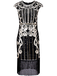 cheap -The Great Gatsby Charleston 1920s Roaring Twenties Flapper Dress Masquerade Cocktail Dress Women's Sequins Tassel Costume Black / Silver / Blue Vintage Cosplay Party Homecoming Prom Sleeveless Short