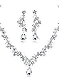 cheap -Women's Cubic Zirconia Jewelry Set Leaf Flower Elegant Zircon Silver Plated Earrings Jewelry Silver For Wedding Evening Party