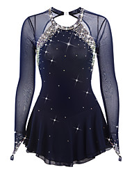 cheap -Figure Skating Dress Women's Girls' Ice Skating Dress Black Deep Blue White Open Back Spandex Elastane High Elasticity Competition Skating Wear Handmade Jeweled Rhinestone Long Sleeve Ice Skating
