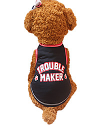 cheap -Dog Vest Dog Clothes Breathable Black Red Costume Cotton Letter & Number Fashion XS S M L