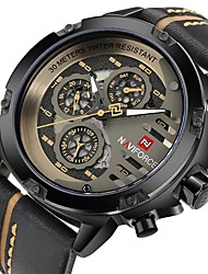 cheap -NAVIFORCE Men's Wrist Watch Quartz Genuine Leather Black / Brown Water Resistant / Waterproof Calendar / date / day Casual Watch Analog Casual Fashion Cool - Coffee Black / Gold Red Two Years Battery