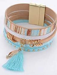 cheap -Women's Crystal Wrap Bracelet Leather Bracelet Drop Ladies Simple Fashion Crystal Bracelet Jewelry Blue For Daily