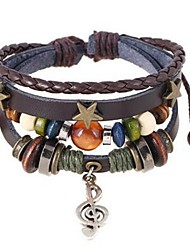 cheap -Men's Women's Leather Bracelet Bracelet Stack Music Star Music Notes Vintage Hip-Hop Wooden Bracelet Jewelry Black / Coffee For Daily