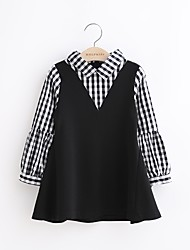cheap -Toddler Girls' Simple Holiday Casual / Daily Check Long Sleeve Dress Black / Cotton