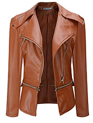 cheap -Women's Going out Street chic Fall / Winter Short Leather Jacket, Solid Colored Notch Lapel Long Sleeve Polyester Black / Beige / Army Green