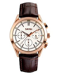 cheap -SKMEI Men's Sport Watch Quartz Luxury Water Resistant / Waterproof Analog White Black Blue / Genuine Leather / Japanese / Calendar / date / day / Genuine Leather / Large Dial