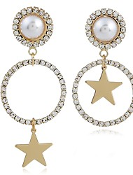 cheap -Women's Drop Earrings Mismatched Star Classic Fashion Imitation Pearl Imitation Diamond Earrings Jewelry Gold For Daily 2pcs