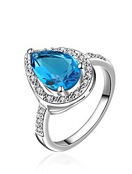 cheap -Women's Band Ring Cubic Zirconia Synthetic Sapphire High End Crystal One-piece Suit Blue Zircon Gold Plated Circle Geometric Classic Vintage Fashion Wedding Engagement Jewelry Halo Drop