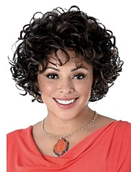 cheap -Synthetic Wig Curly Curly Wig Short Black#1B Black / Dark Auburn Synthetic Hair Women's Highlighted / Balayage Hair Black StrongBeauty