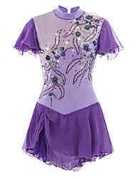 cheap -Figure Skating Dress Women's Girls' Ice Skating Dress Light Purple Flower Spandex High Elasticity Competition Skating Wear Handmade Ice Skating Figure Skating