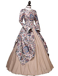 cheap -Rococo Victorian 18th Century Dress Party Costume Masquerade Costume Rainbow Vintage Cosplay Long Sleeve Ankle Length Ball Gown / Floral