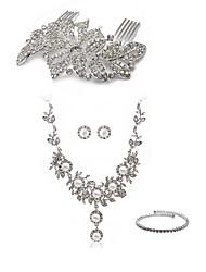 Недорогие -Жен. Гребни Свадебные комплекты ювелирных изделий европейский Мода Искусственный бриллиант Серьги Бижутерия Белый Назначение Свадьба Для вечеринок