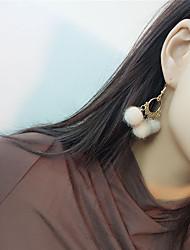 cheap -Women's Drop Earrings Dangle Earrings Ball Vintage Fashion Fur Earrings Jewelry Gray / Red / Wine For Party Formal