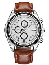 cheap -Men's Wrist Watch Quartz Leather Black / Brown Large Dial Analog Casual Fashion - Brown black Black / White White / Brown