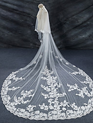 cheap -Two-tier Lace Applique Edge / Wedding / Bridal Wedding Veil Cathedral Veils with Lace Lace / Tulle / Angel cut / Waterfall
