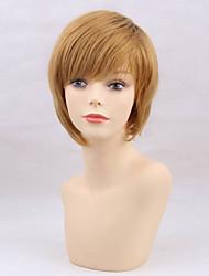 Недорогие -Человеческие волосы Парик Короткие Естественные прямые Естественные прямые Боковая часть Машинное плетение Жен. Желтый 10 дюйм