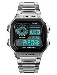 Недорогие -Муж. Спортивные часы Наручные часы Нержавеющая сталь Японский Цифровой Нержавеющая сталь Черный / Серебристый металл 50 m Защита от влаги Будильник Календарь Цифровой На каждый день - / Один год