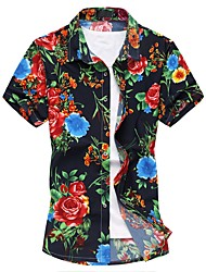 cheap -Men's Casual / Daily Beach Weekend Chinoiserie Cotton Slim Shirt - Floral Red / Short Sleeve / Summer