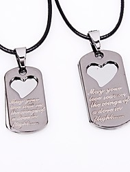 cheap -Couple's Pendant Necklace Heart Fashion Stainless Steel Leather Silver Necklace Jewelry 2pcs For Date Valentine