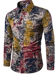 cheap -Men's Shirt Trees / Leaves Long Sleeve Going out Tops Chinoiserie Boho Rainbow