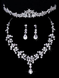 cheap -Women's Jewelry Set Classic Imitation Diamond Earrings Jewelry Silver For Wedding Party