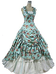 cheap -Gothic Lolita Victorian Dress Bags and Purses Women's Girls' Cotton Japanese Cosplay Costumes Blue Floral Cap Sleeve Sleeveless Ankle Length