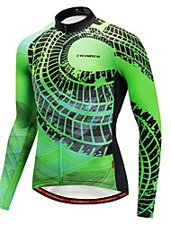 cheap -CYCOBYCO Men's Long Sleeve Cycling Jersey Green Bike Sweatshirt Jersey Top Mountain Bike MTB Road Bike Cycling Quick Dry Sports Winter Cotton Blend 100% Polyester Fleece Clothing Apparel / Stretchy