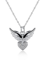 cheap -Men's Women's Pendant Necklace Wings European Silver Plated White Necklace Jewelry One-piece Suit For Daily