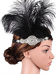 cheap -The Great Gatsby Flapper Headband 1920s / Roaring 20s Women's Black Rhinestone / Feather Party Prom Cosplay Accessories Masquerade Costumes