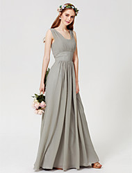 cheap -Sheath / Column Square Neck Floor Length Chiffon Bridesmaid Dress with Draping / Open Back