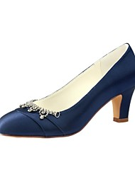 cheap -Women's Wedding Shoes Chunky Heel Round Toe Crystal Elastic Fabric Basic Pump Spring / Fall Black / Dark Blue / Party & Evening / EU37