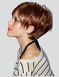 cheap -Human Hair Wig Short Straight Pixie Cut Layered Haircut Straight Side Part Machine Made Women's Black#1B Medium Auburn Strawberry Blonde / Light Blonde 8 inch