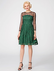 cheap -A-Line Keyhole Holiday Homecoming Cocktail Party Dress Illusion Neck Long Sleeve Short / Mini All Over Lace with Pleats Appliques 2020 / Illusion Sleeve