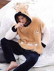 cheap -Men's Patchwork Suits Nightwear Color Block Orange L XL XXL / Hooded / Winter