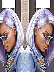 cheap -Synthetic Lace Front Wig Straight Wavy Straight Wavy Bob Pixie Cut Lace Front Wig Short Medium Length Bright Purple Synthetic Hair Women's Side Part Purple