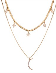 cheap -Women's Layered Necklace Moon Star North Star Simple Fashion Imitation Diamond Alloy Gold Necklace Jewelry For Daily