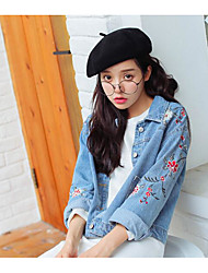cheap -Women's Daily Vintage Winter Regular Denim Jacket, Solid Colored Round Neck Short Sleeve Cotton / Acrylic Pleated Blue M / L / XL