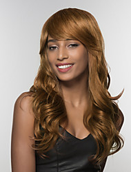 cheap -Human Hair Wig Long Wavy Wavy Side Part Machine Made Women's Black#1B Medium Auburn Medium Auburn / Bleach Blonde 24 inch
