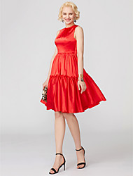 cheap -Ball Gown Cute Holiday Homecoming Cocktail Party Dress Jewel Neck Sleeveless Short / Mini Satin with Bow(s) Pleats 2020 / Prom