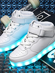 cheap -Boys' LED / Light Soles / LED Shoes PU Sneakers Little Kids(4-7ys) / Big Kids(7years +) LED / Luminous White / Black / Pink Fall / Winter / TR