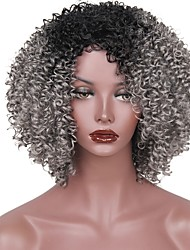 cheap -Synthetic Wig Afro Afro Layered Haircut Wig Short Black / Grey Synthetic Hair Women's Ombre Hair Gray