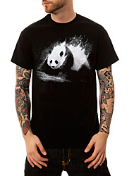 cheap -Daily Going out Active / Street chic Cotton T-shirt - Print Round Neck Black / Spring / Summer