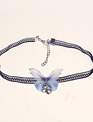cheap -Women's Choker Necklace Butterfly Ladies Classic Fashion Lace Alloy Light Blue Necklace Jewelry One-piece Suit For Daily
